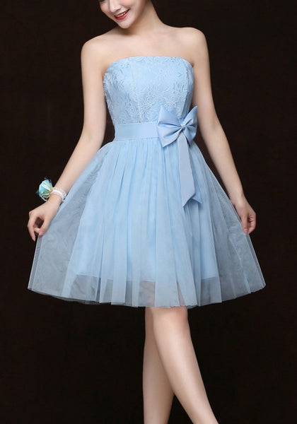 Sky Blue Grenadine Bow Off Shoulder Backless Bridesmaid Party Midi Dress