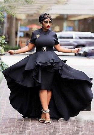 Black Cascading Ruffle Peplum Big Swing Swallowtail High-Low Short Sleeve Party Maxi Dress