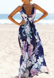 Navy Blue Floral Cross Back V-neck Maxi Dress