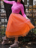 Orange Grenadine Elastic Waist Party Tulle Midi Skirt