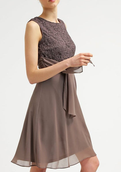 Khaki Lace Sashes Draped Round Neck Sleeveless Fashion Midi Dress