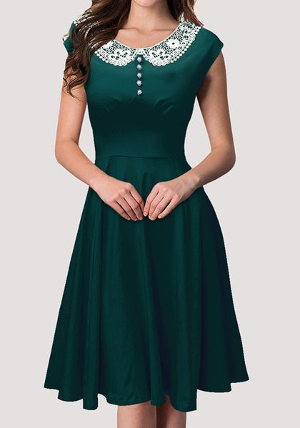 Dark Green Lace Buttons Draped Peter Pan Collar Hepburn Vintage Midi Dress
