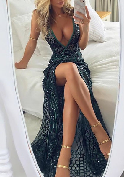 Green Geometric Sequin Side Slit Spaghetti Strap Backless Sparkly Banquet Party Maxi Dress