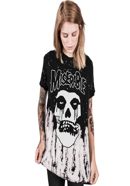 Black Skull Head Print Round Neck Short Sleeve Halloween T-Shirt