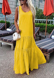Yellow Ruffle Pleated U-neck Ruched Beachwear Casual Maxi Dress