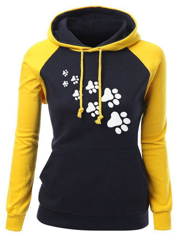 Yellow Color Block Floral Empreinte De Pas Print Drawstring Pockets Hooded Long Sleeve Fashion Sweatshirt