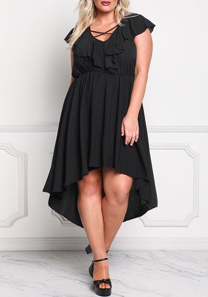 Black V-neck Draped Irregular Ruffle Short Sleeve Casual Maxi Dress