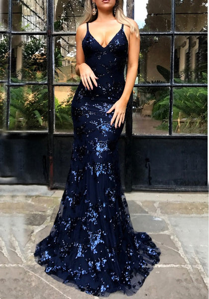 Navy Blue Sequin Spaghetti Strap Backless Mermaid Glitter V-neck Elegant Party Maxi Dress