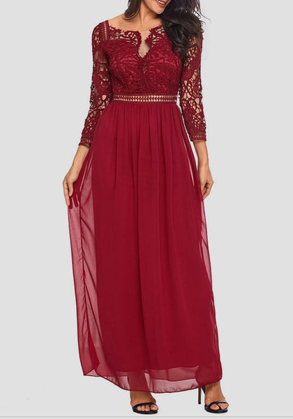Wine Red Patchwork Lace Draped Backless Elegant Cocktail Party Maxi Dress