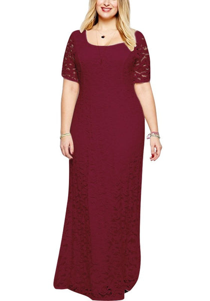 Red Floral Lace Draped Zipper Cut Out Plus Size Party Maxi Dress