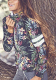 Multicolor Floral Print Hooded Zipper Long Sleeve Fasion Coat
