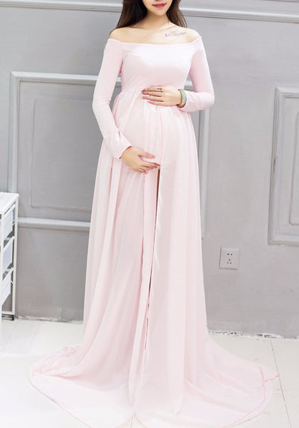 Pink Draped Slit Off Shoulder Maternity Photoshoot Elegant Maxi Dress