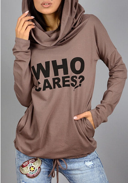 Coffee Monogram Drawstring Pockets Hooded Long Sleeve Casual T-Shirt