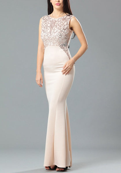 Beige Cut Out Zipper Draped Bodycon Backless Elegant Party Maxi Dress