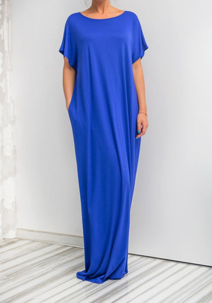 Blue Patchwork Bow Cut Out Round Neck Fashion Maxi Dress