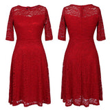 Red Patchwork Lace Zipper Round Neck Sweet Midi Dress