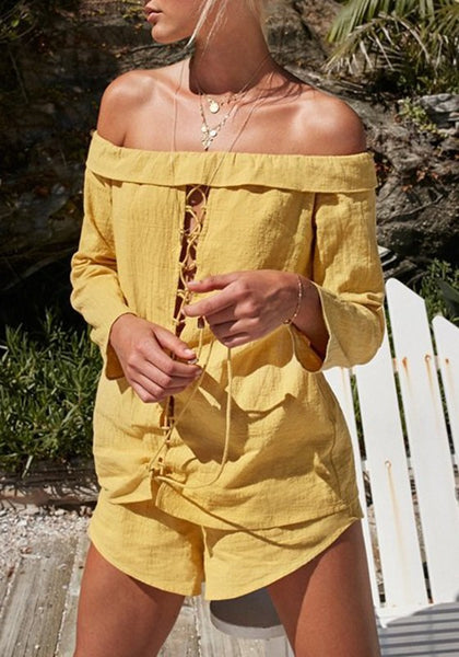 Ginger Yellow Drawstring 2-in-1 Elastic Waist Casual Short Jumpsuit