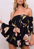 Black Floral Print Ruffle Elastic Waist Fashion Short Jumpsuit