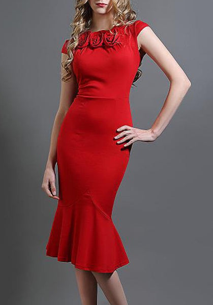 Red Ruffle Mermaid Banquet Bodycon Prom Evening Party Midi Dress