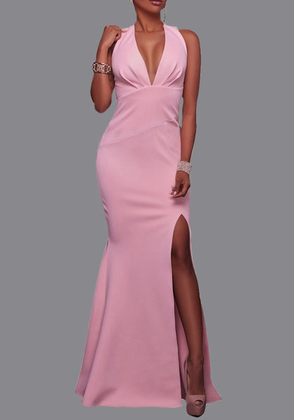 Pink Zipper Slit Side Mermaid Deep V-neck Homecoming Prom Party Maxi Dress