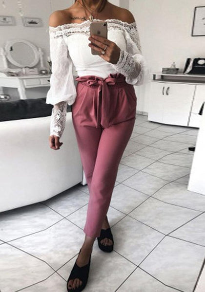 Wine Red Pockets Sashes Casual Long Pants