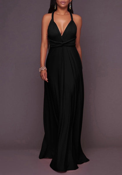 Black Draped Backless Lace-up Deep V-neck Homecoming Party Maxi Dress