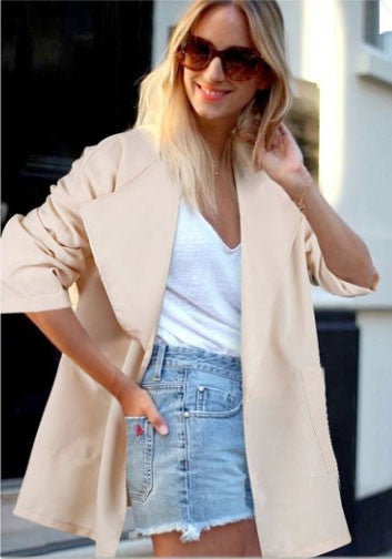 Apricot Pockets V-neck No Button Long Sleeve Cardigan Trench Coat