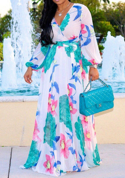 White Flowers Draped V-neck Bohemian Beach Chiffon Maxi Dress