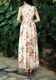 Pink Butterfly Print Draped Lace-up Flowy V-neck Bohemian Las Vegas Party Maxi Dress