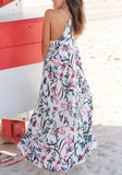 White Floral Spaghtti Strap Backless V-neck Sleeveless Fashion Maxi Dress