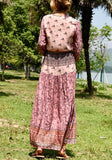 Pink Floral Single Breasted Drawstring Lace-up V-neck Bohemian Party Maxi Dress