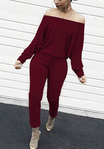 Wine Red Ruffle Elastic Waist Mid-rise Casual Long Jumpsuit