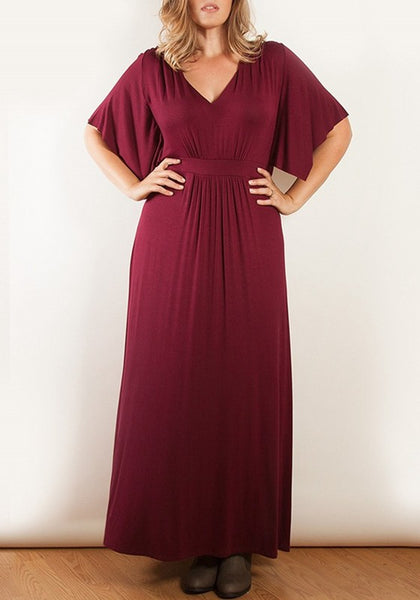 Burgundy Pleated Plus Size V-neck Short Sleeve Elegant Evening Party Maxi Dress