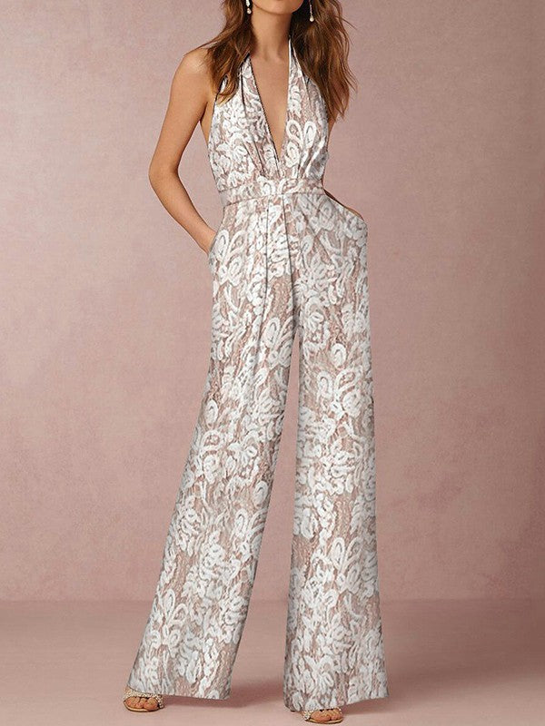 New White Halter Neck Backless Lace Deep V Neck Sleeveless Embroidery Fashion Long Wide Leg Palazzo Jumpsuit Pants