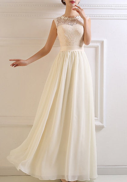 White Patchwork Draped Lace Round Neck Sleeveless Elegant Bridesmaid Maxi Dress