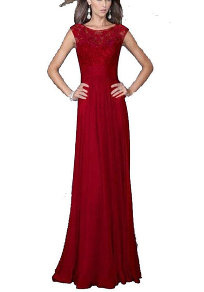 Red Patchwork Lace Hollow-out Draped Elegant Maxi Dress