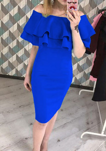 Blue Ruffle Boat Neck Short Sleeve Fashion Midi Dress