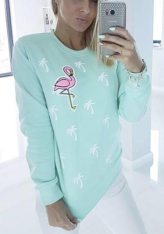 Blue Floral Print Round Neck Casual Pullover Sweatshirt