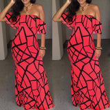 Watermelon Red Geometric Print Ruffle Boat Neck Off Shoulder Maxi Dress