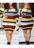Black Striped Off Shoulder Backless Bodycon Long Sleeve Party Midi Dress