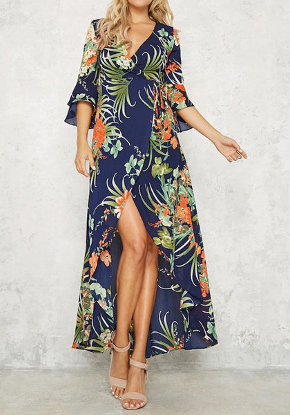 Navy Blue Bohimian Floral Print Front Slit V-neck High-low Summer Beach Maxi Dress