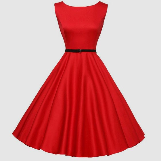 Red Draped Belt Zipper A-Line Elegant Midi Dress
