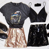 Golden Patchwork Sequin Glitter Sweet Cute Clubwear Party Skirt