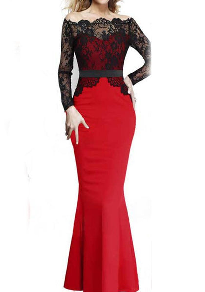 Red Patchwork Lace Draped Off Shoulder Long Sleeve Fashion Maxi Dress