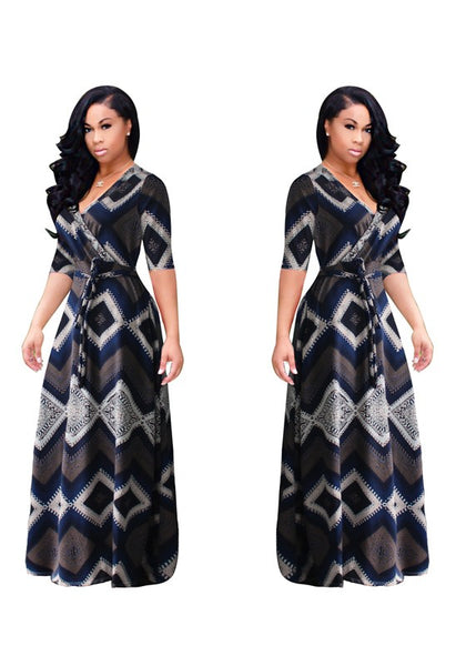 Dark Blue Geometric Print Sashes Deep V-neck Half Sleeve Vintage Maxi Dress