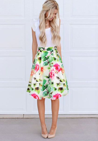 Multicolor Patchwork Flowers Print Lace Draped High Waisted Homecoming Midi Dress