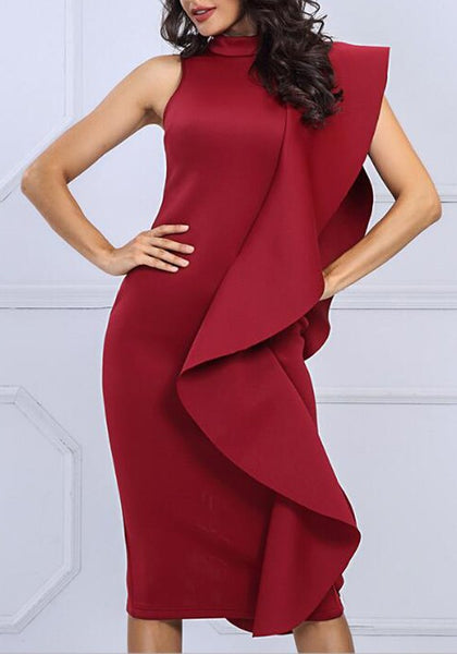 Burgundy Ruffle Slit Band Collar Sleeveless Bodycon Banquet Elegant Party Midi Dress