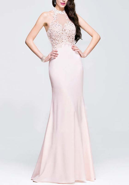 Pink Lace Grenadine Cut Out Mermaid Beading Banquet Elegant Party Maxi Dress