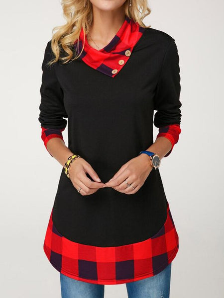 Black-Red Patchwork Plaid Single Breasted Cowl Neck Plus Size Casual Pullover Sweatshirt