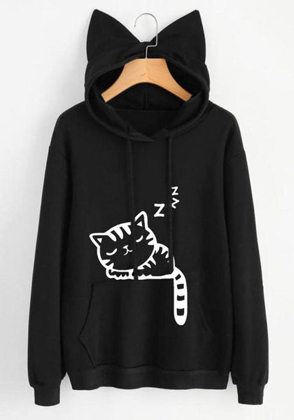Black Cat Print Cat Ears Drawstring Pockets Cute Hooded Sweatshirt